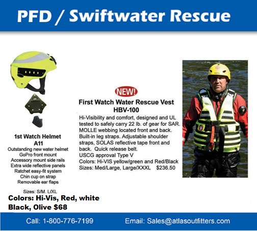 First Watch Swiftwater pfd, inflatables and helmet