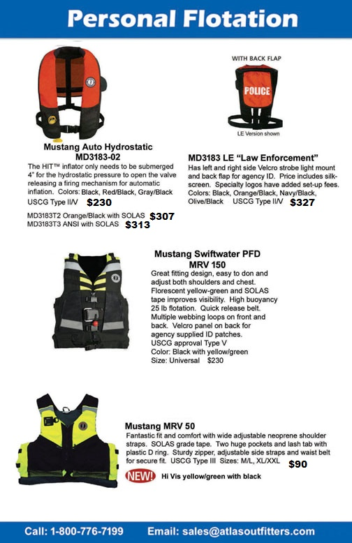 Mustang Survival PFDs, life jackets