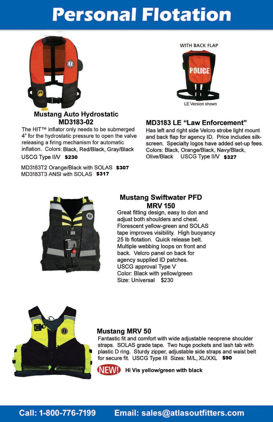 PFD, life jackets from Mustang Survival