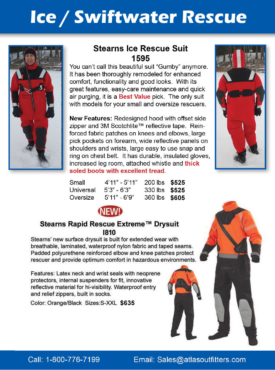 Stearns Ice rescue and swiftwater suits