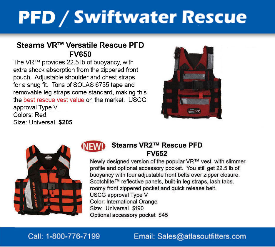 Stearns VR and VR2 swftwater rescue pfd